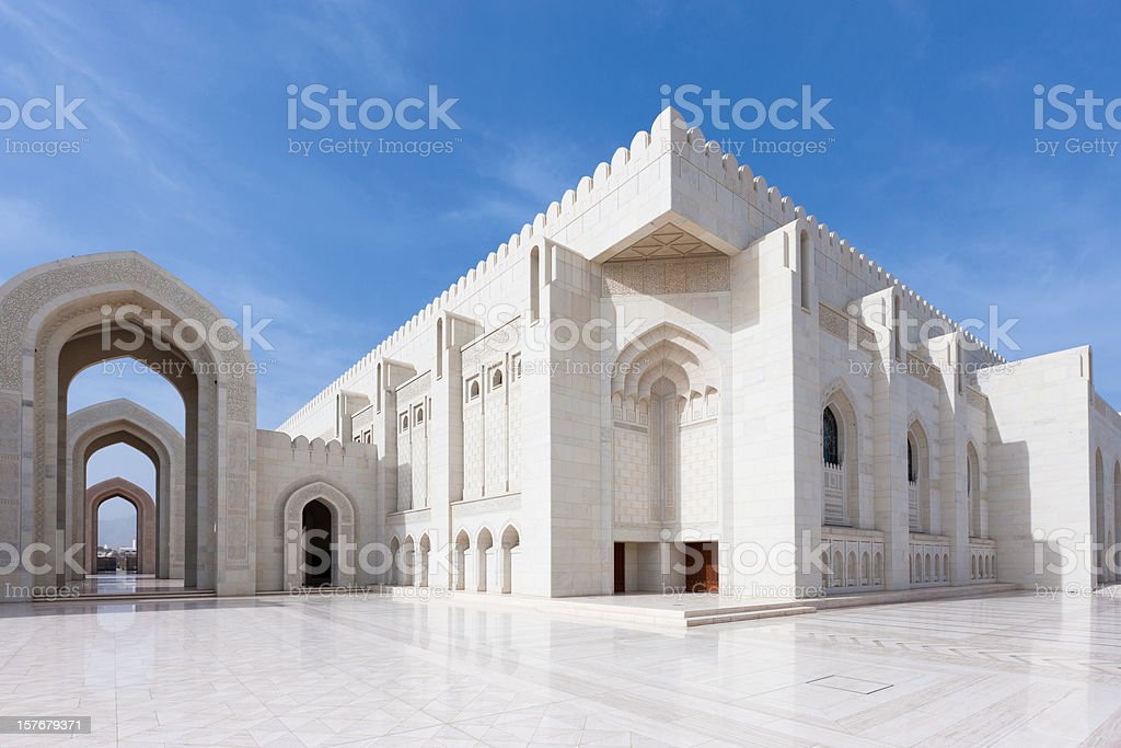 Prayer Hall Grand Mosque Sultan Qaboos stock photo
