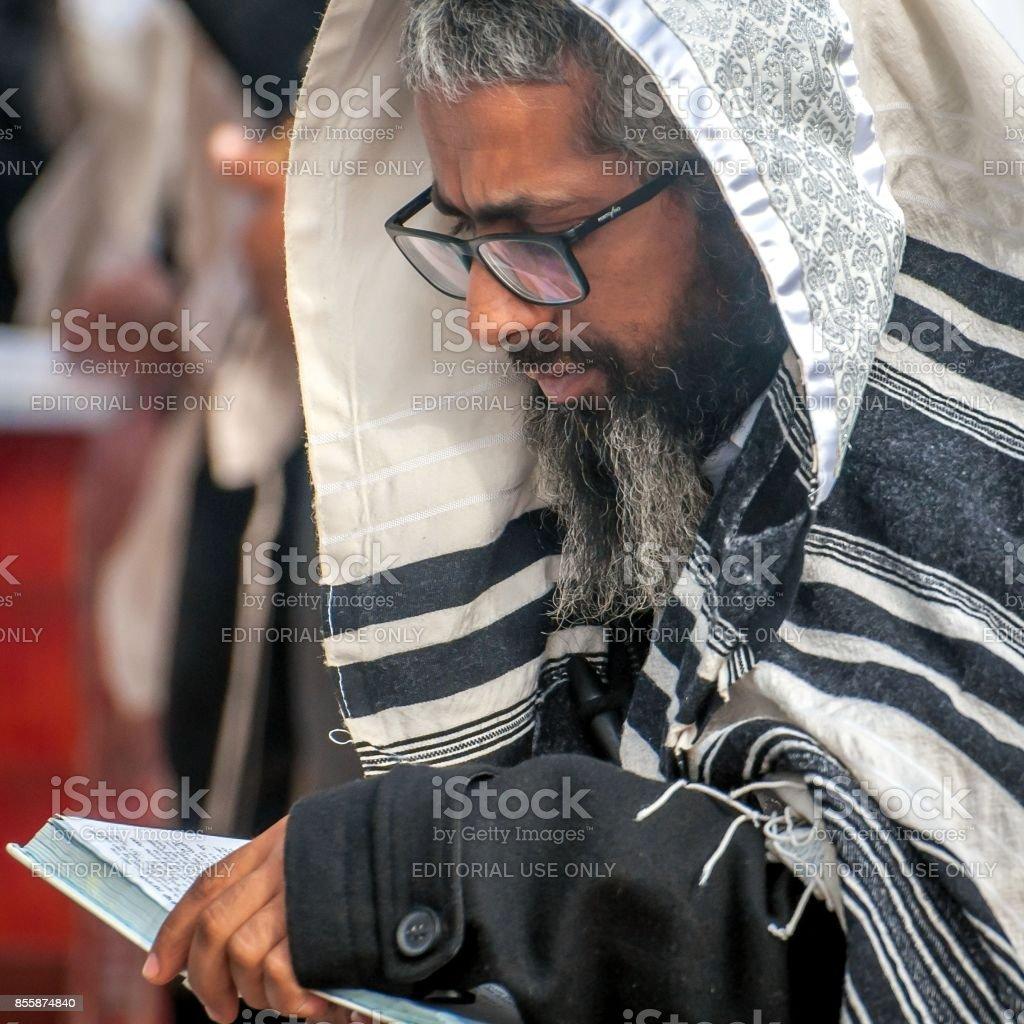 Prayer Hasid Pilgrim In Traditional Clothes Tallith Jewish