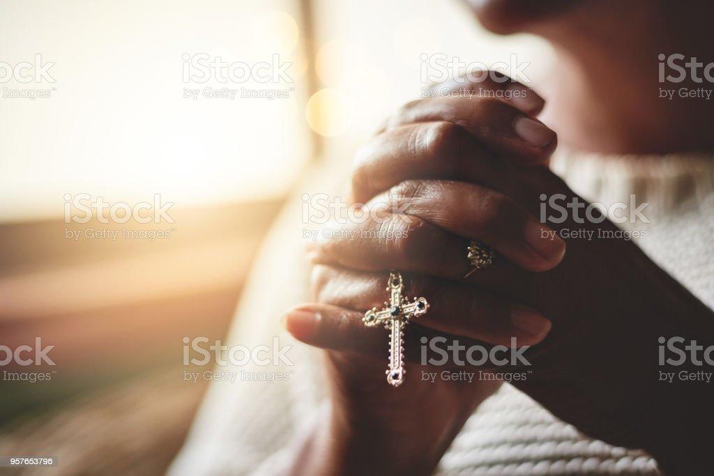 Prayer is the pillar of strength stock photo
