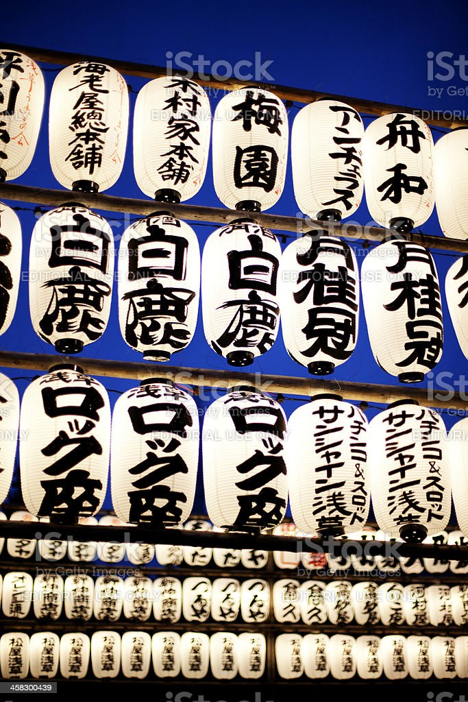 Prayer lanterns at Senso-ji Temple, Asakusa Tokyo royalty-free stock photo