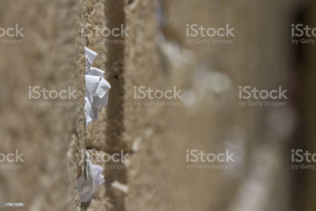 Prayer note on the Western Wall royalty-free stock photo