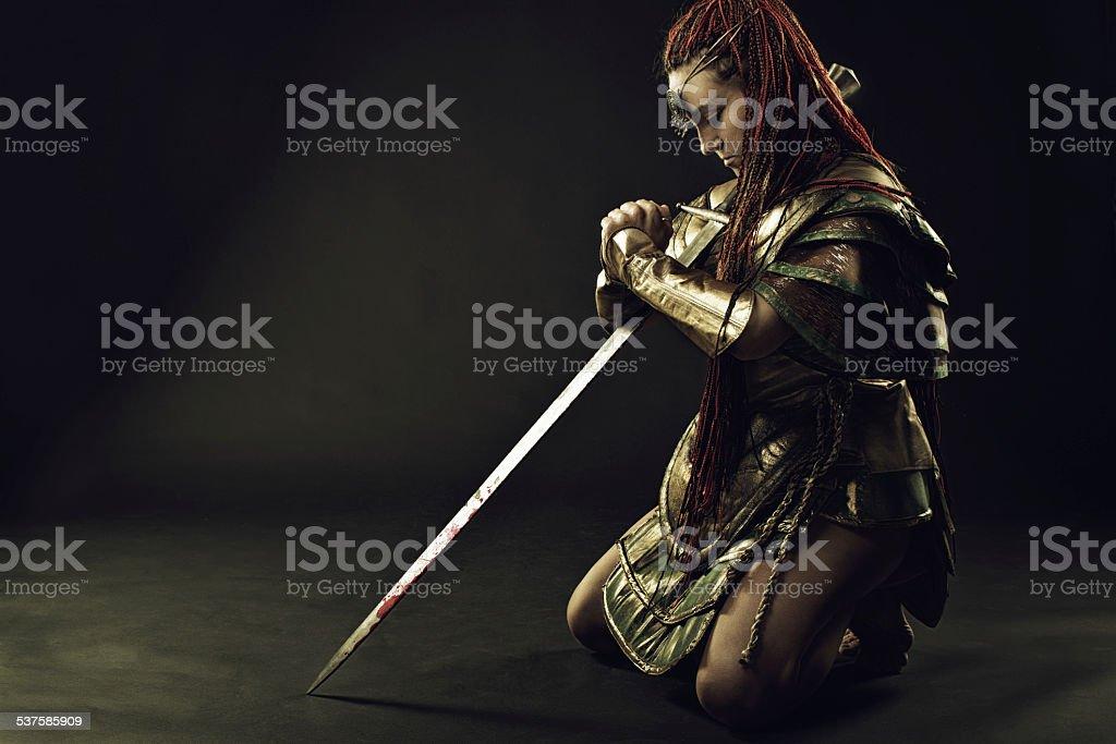 Prayer of warrior stock photo