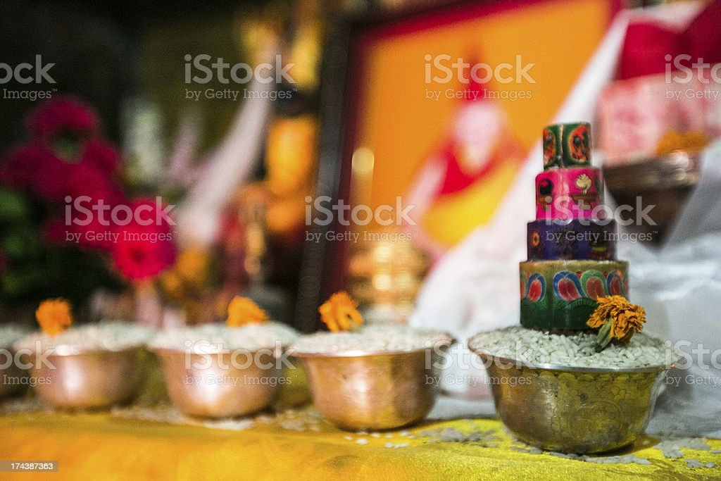 Prayer Offering at a Buddhist Monastery royalty-free stock photo