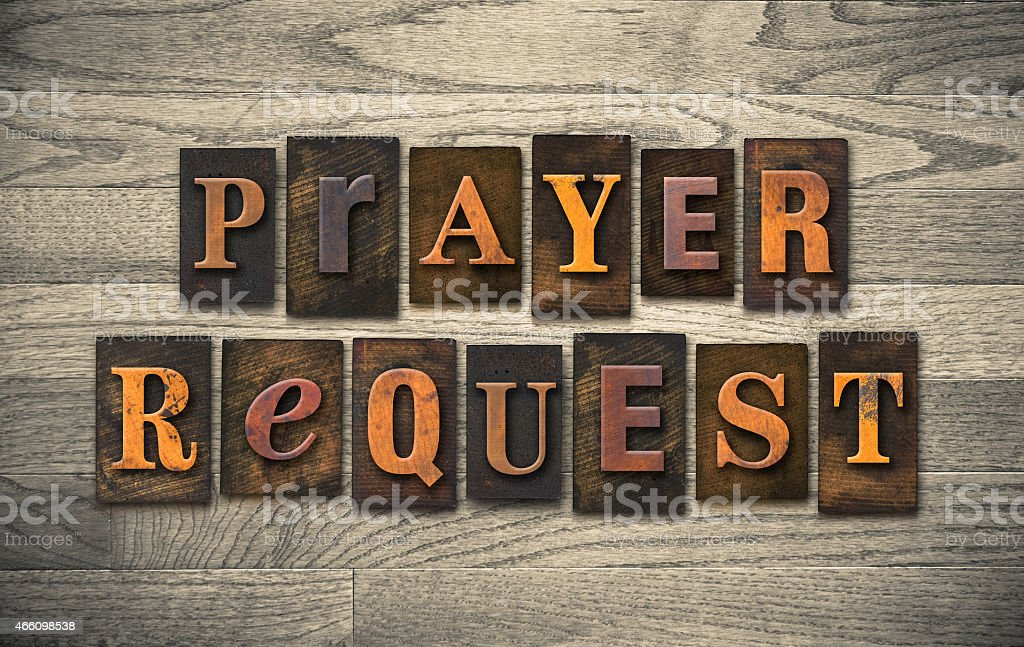 Prayer Request Wooden Letterpress Concept stock photo