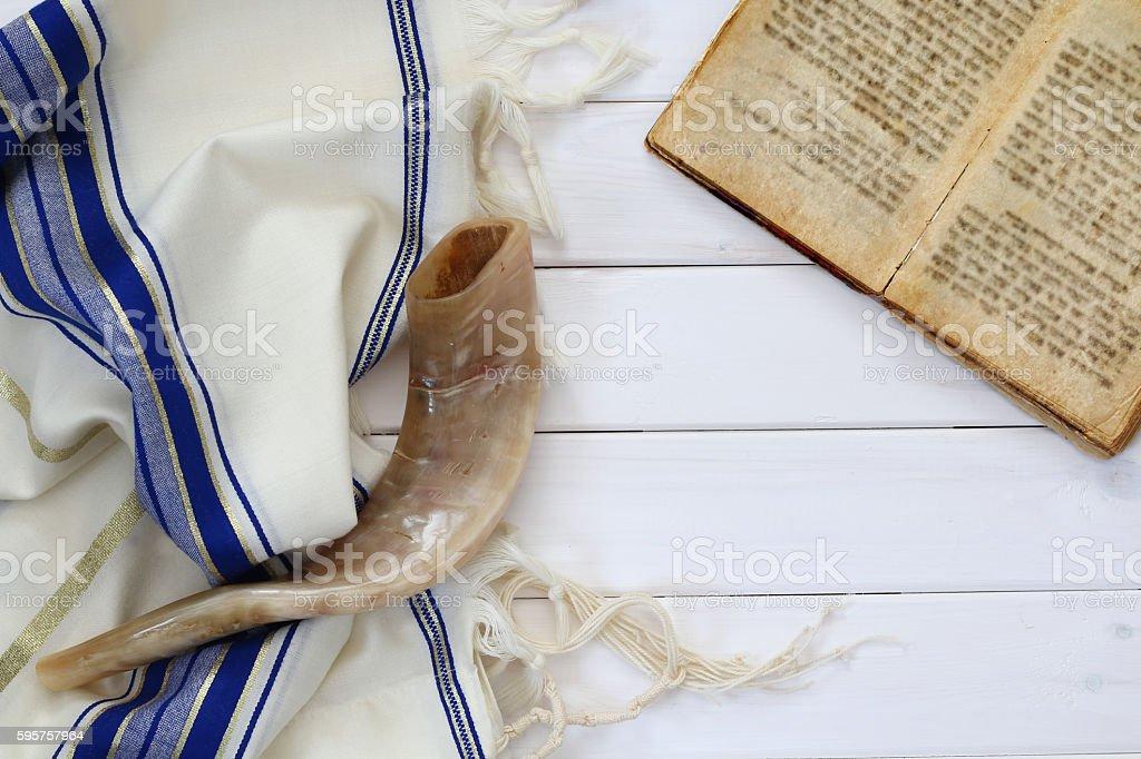Prayer Shawl - Tallit and Shofar (horn) jewish religious symbol. stock photo
