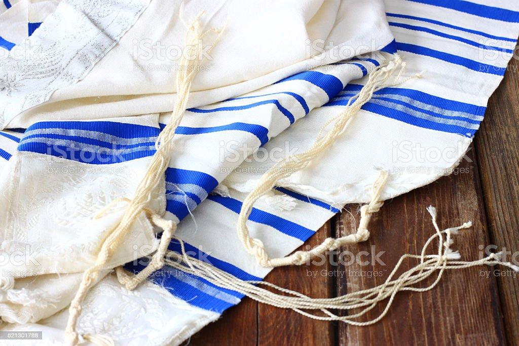 Prière Tallit châle, juif, Symbole religieux. - Photo