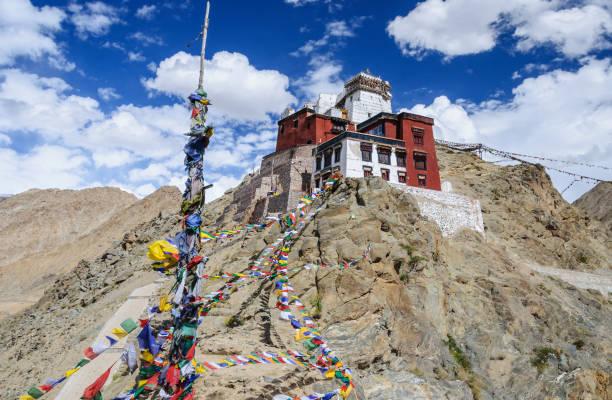 Banderas tibetanas de oración cerca del en Palacio de Leh, Ladakh - foto de stock