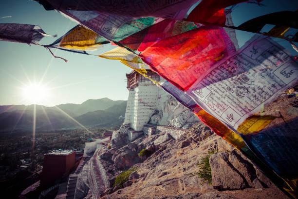 tibetische gebetsfahnen in der nähe von klosters namgyal tsemos in leh, ladakh - nepal tibet stock-fotos und bilder