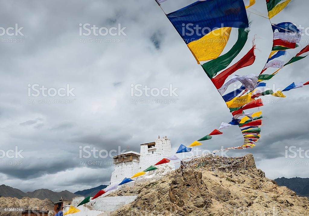Prayer tibetan flags near the Namgyal Tsemo Monastery stock photo