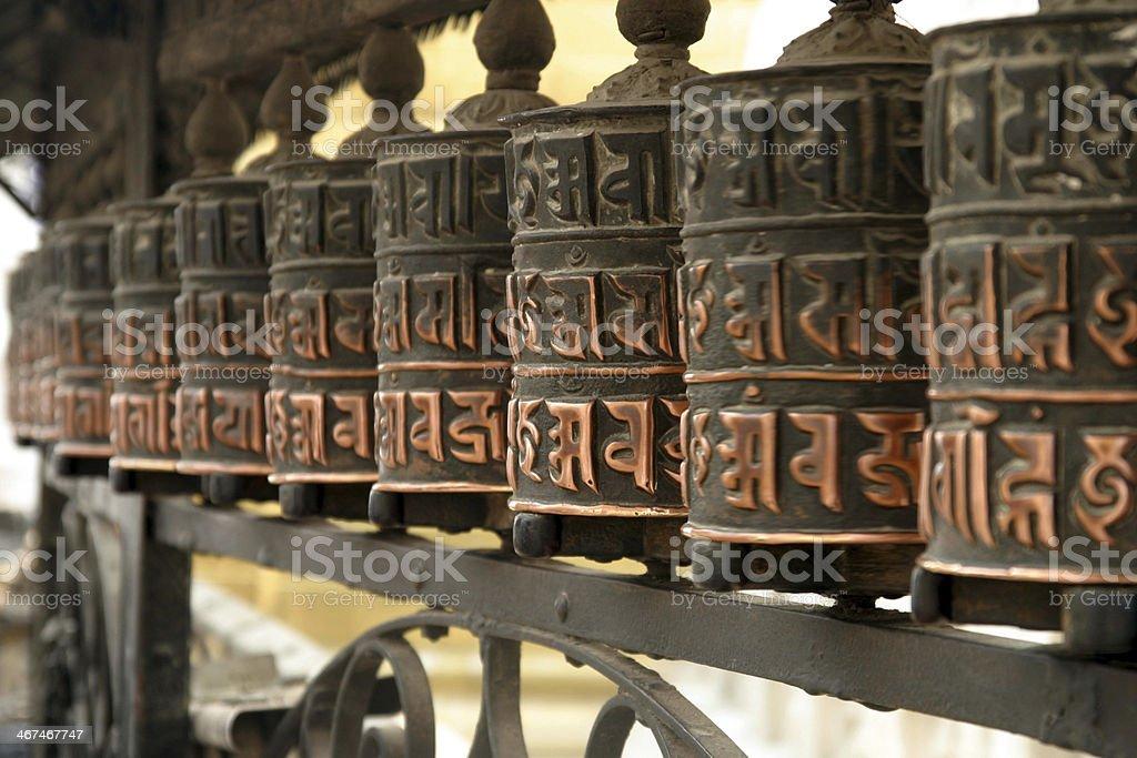 Prayer wheel at Swayambhunath in Kathmandu, Nepal royalty-free stock photo