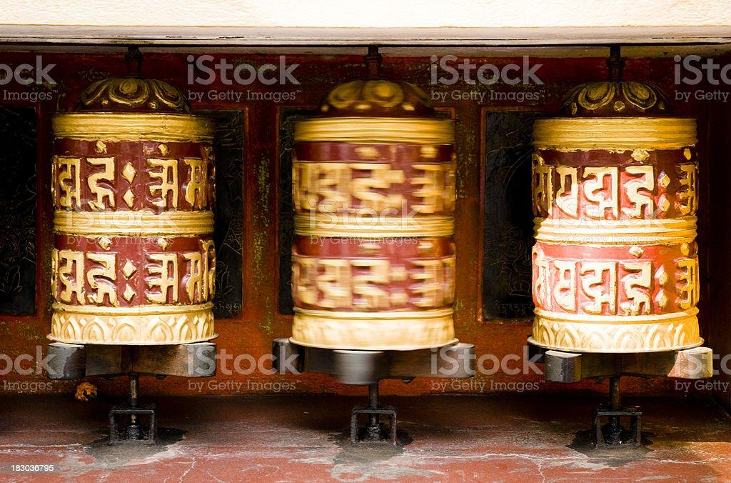 Prayer wheel at Swayambhunath, Kathmandu stock photo