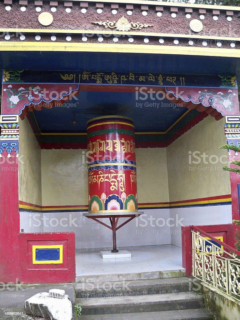 Prayer wheel in McLeod Ganj, India stock photo