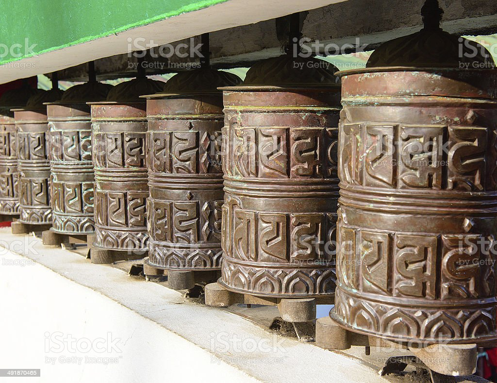 Prayer wheel in of Sikkim. The Indian Himalayas stock photo