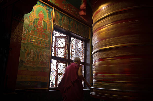 Prayer Wheel, Kathmandu stock photo