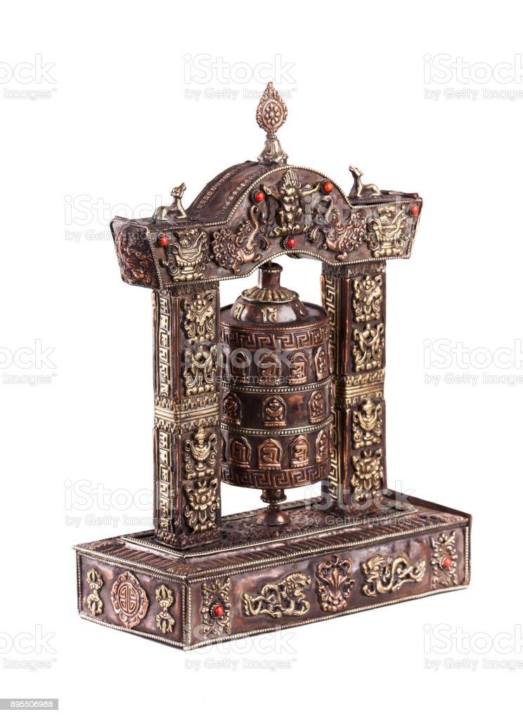 A prayer wheel made of bronse. stock photo
