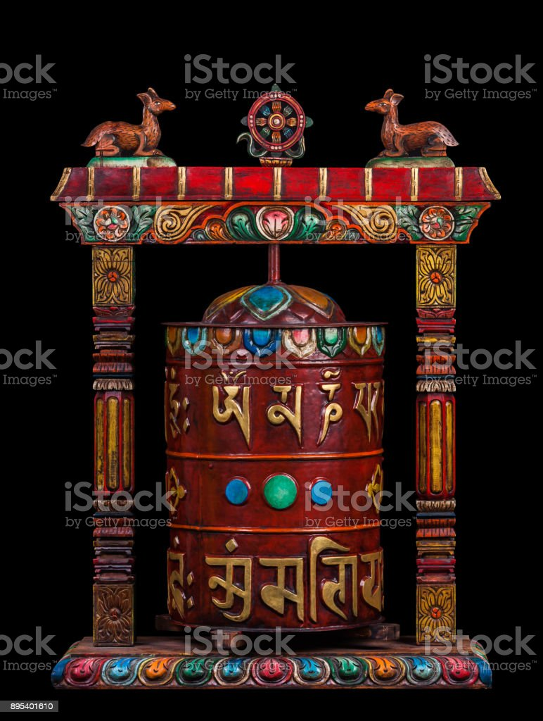 A prayer wheel with the mantras. stock photo