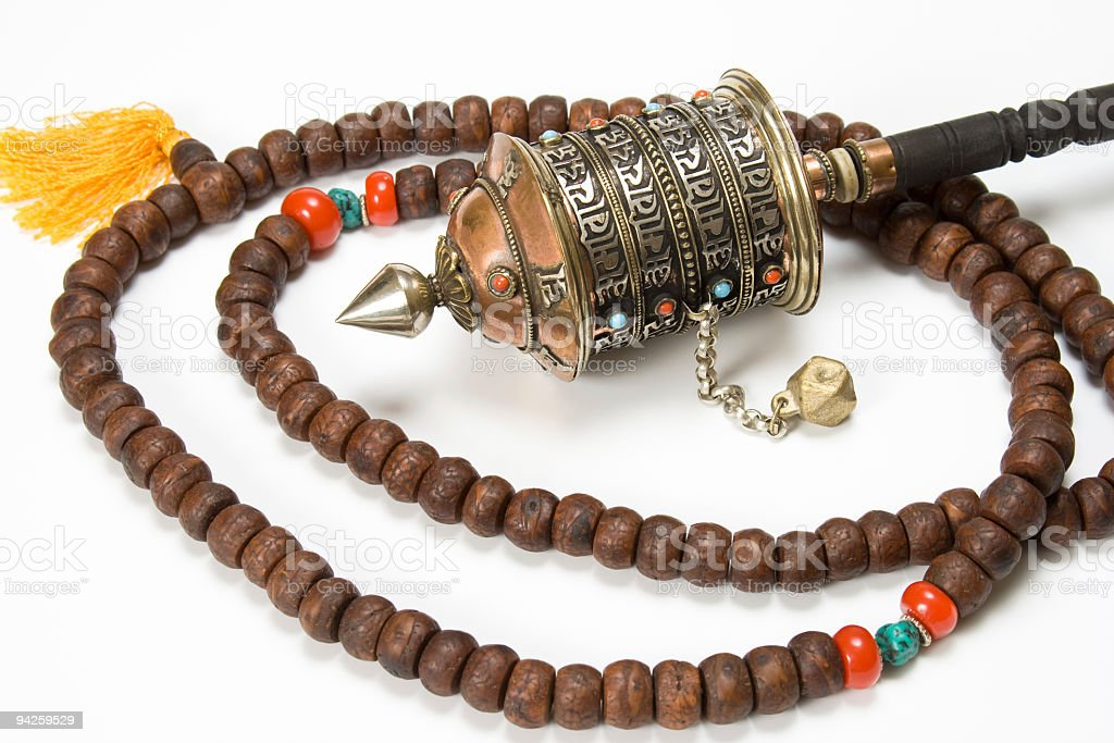 Prayer wheels and necklace mala stock photo