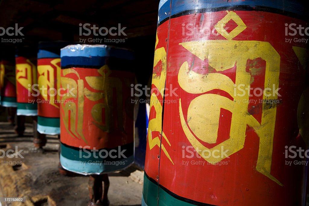 Prayer Wheels at Paro Monastery royalty-free stock photo