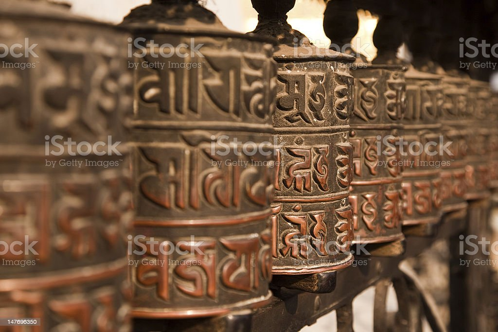 Prayer Wheels at the Monkey Temple, Kathmadu, Nepal royalty-free stock photo