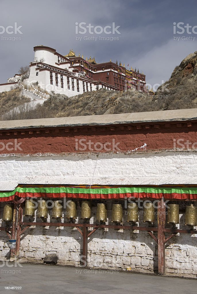 Prayer Wheels in front of the Potala Palace royalty-free stock photo