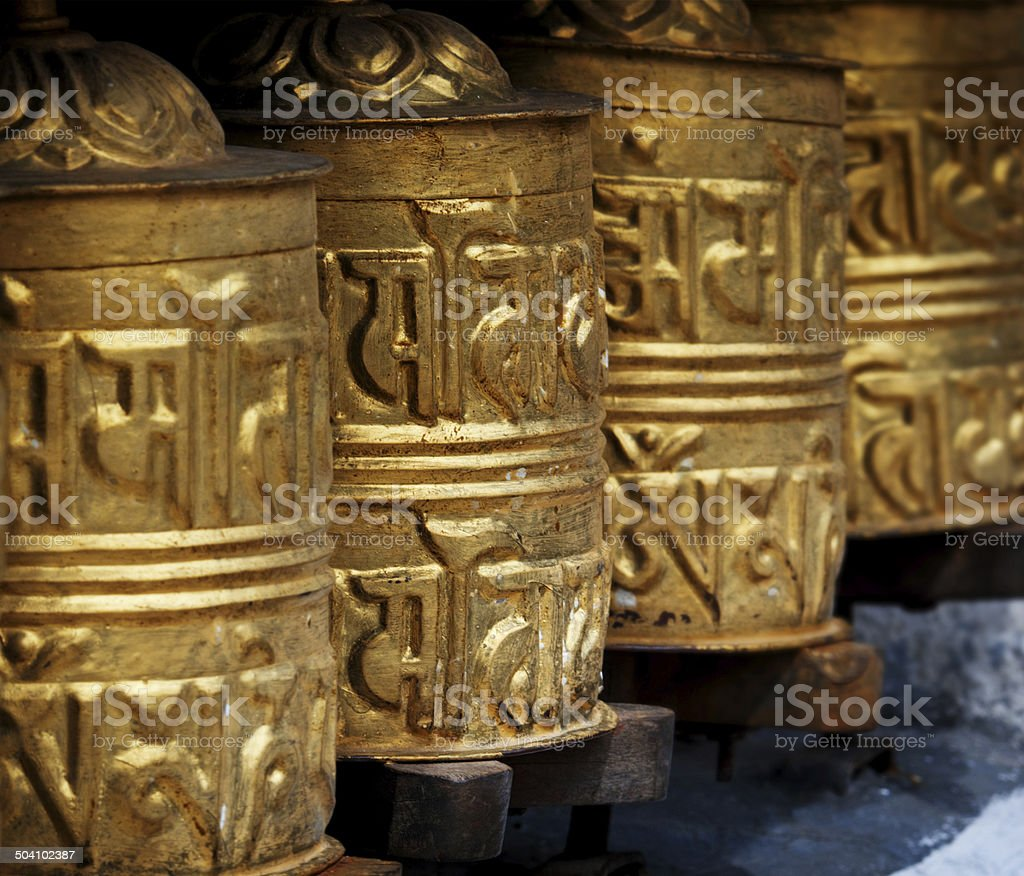 Prayer wheels in  Himalayas royalty-free stock photo