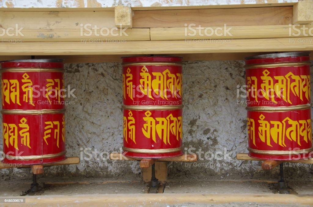 Prayer wheels in Lamayuru in Ladakh, India stock photo