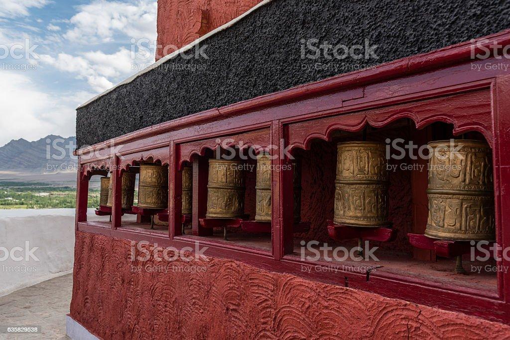 prayer wheels in Thiksey monastery stock photo