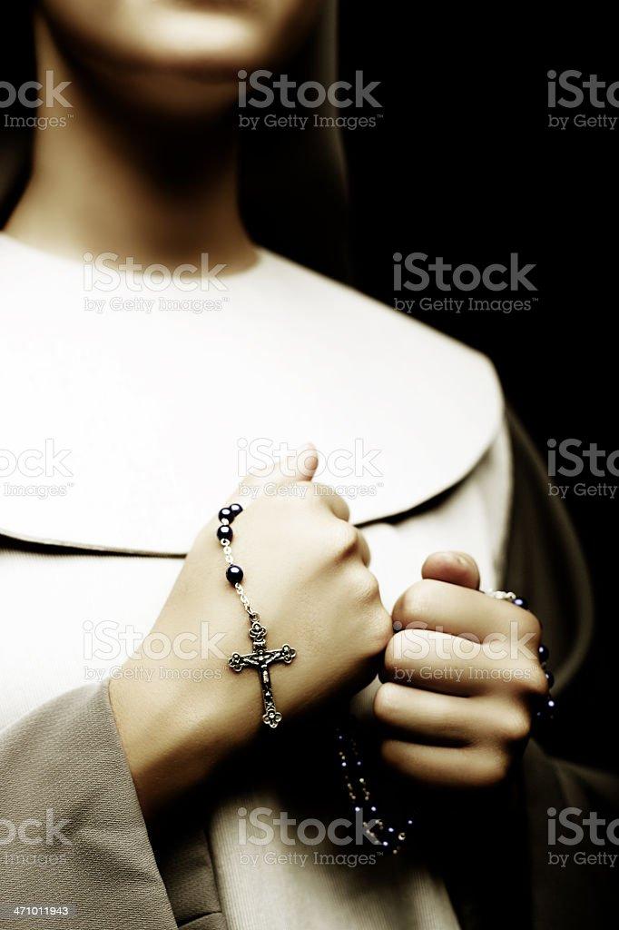 Prayer with rosary stock photo