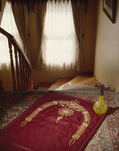 Prayer-rug Prayer-mat facing the stairs grifare stock pictures, royalty-free photos & images