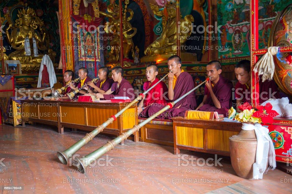 Prayers in Kathmandu stock photo