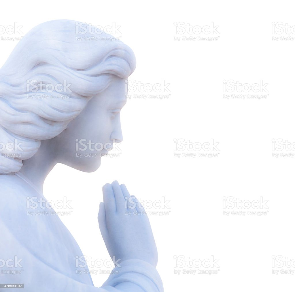 Praying angel, marble statue isolated on white background, copy space stock photo