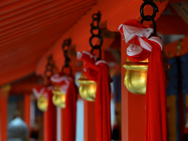 Praying bell The bell used to call listening of gods. torii gate stock pictures, royalty-free photos & images
