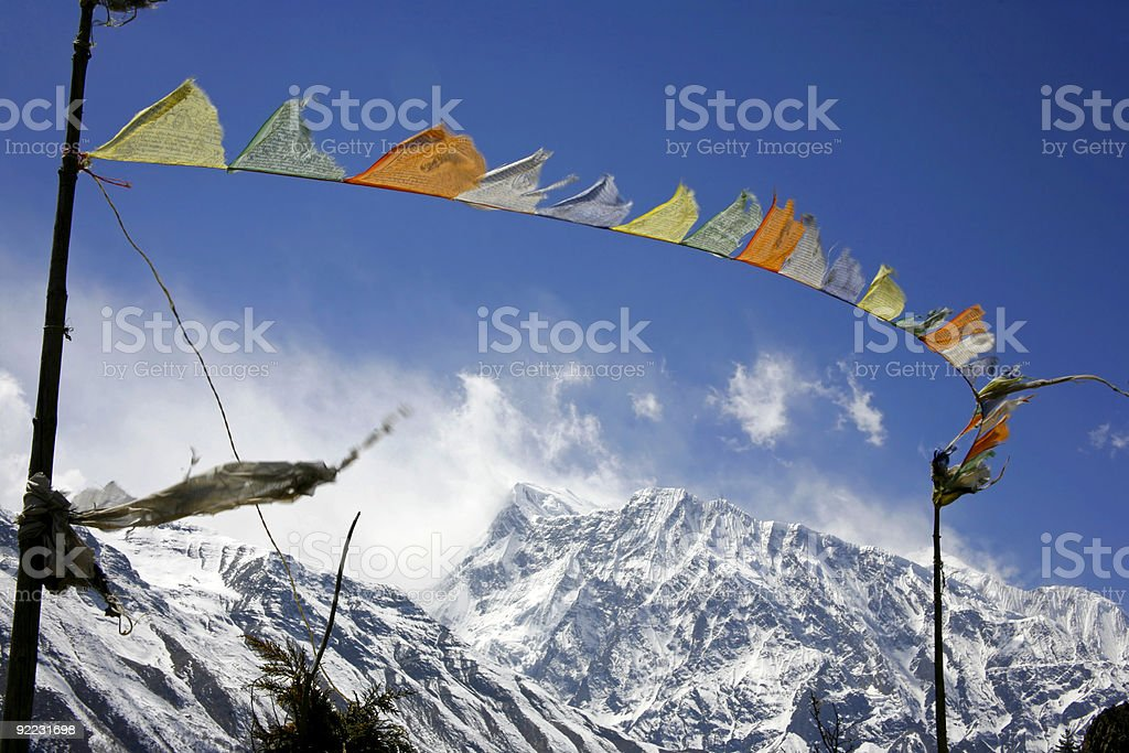 praying flags stock photo