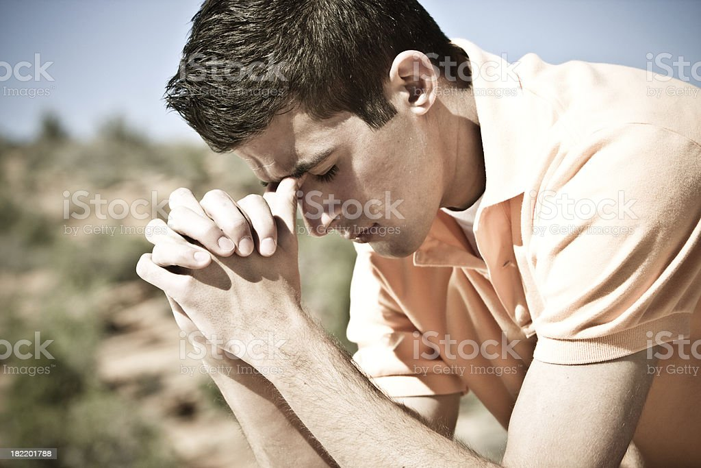 Praying for help stock photo