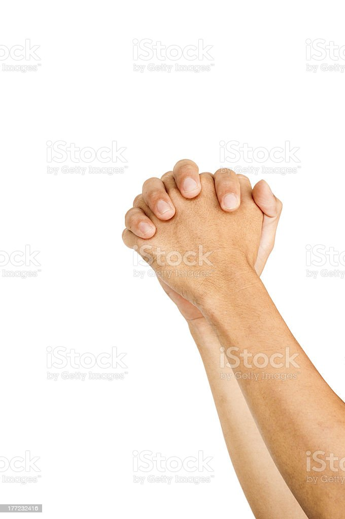 praying hands or begging gestures royalty-free stock photo