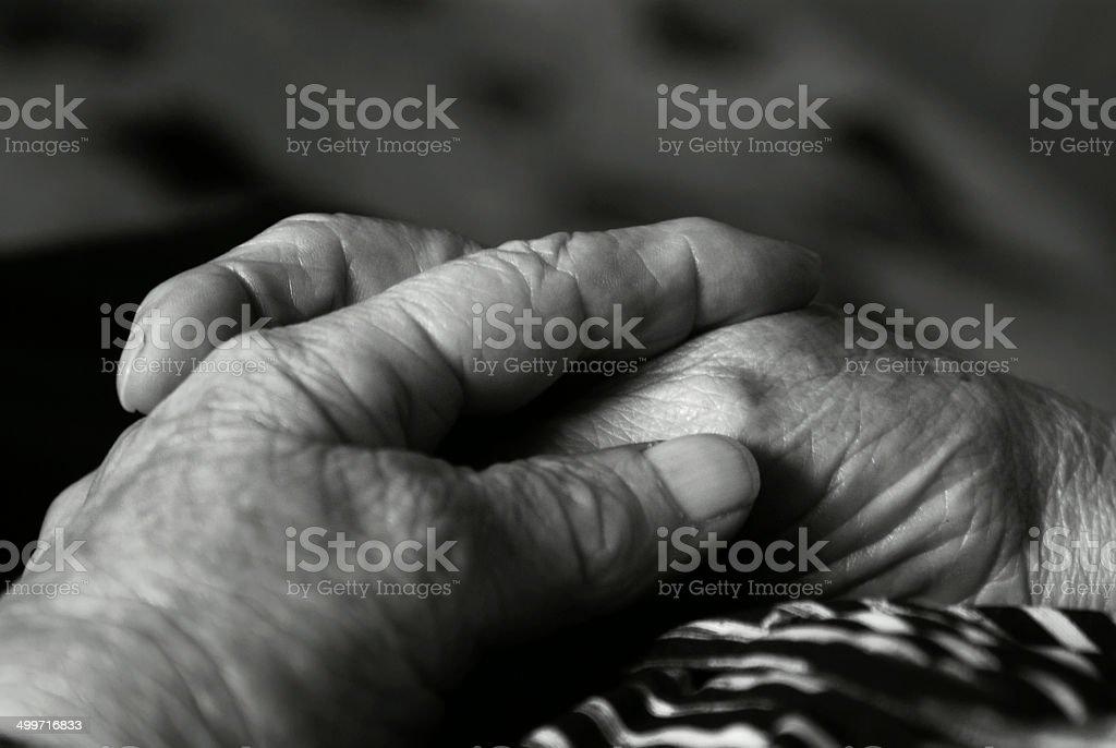 Pregare con le mani - foto stock