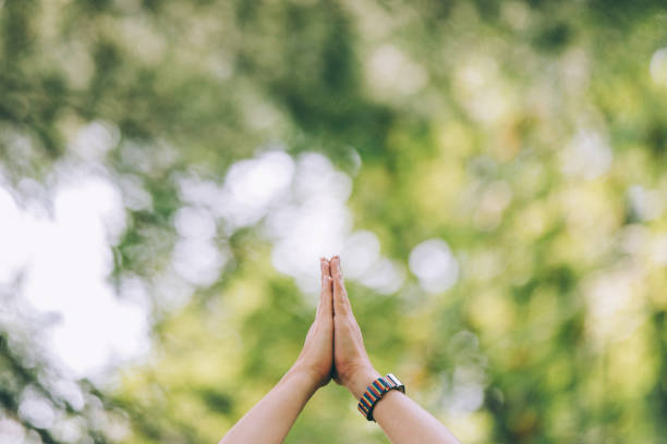 Praying Hands, Yoga And Meditation Practice stock photo