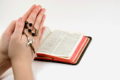 praying in front off a bible