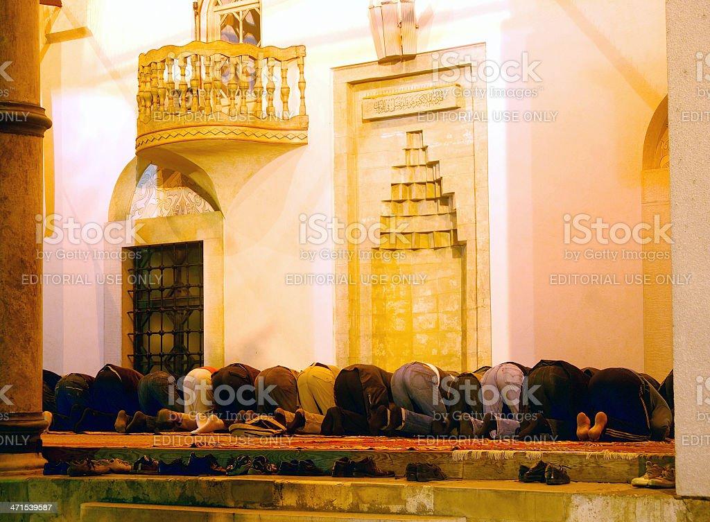 Praying in the mosque, Sarajevo, Bosnia-Herzegovina royalty-free stock photo