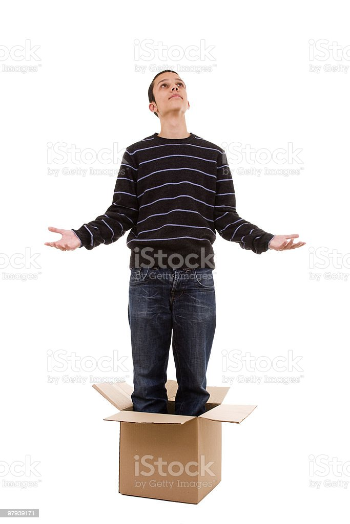 praying inside the box royalty-free stock photo