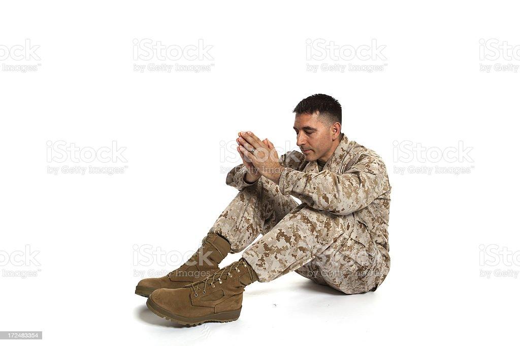 Praying Marine royalty-free stock photo