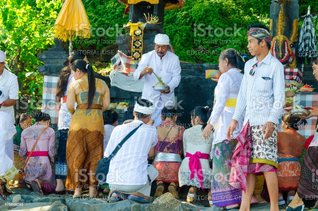 Praying People At A Hindu Temple In Bali Indonesia Stock