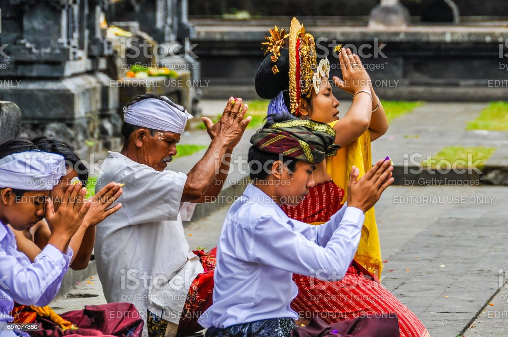 Praying People In Pura Besakih Temple In Bali Indonesia