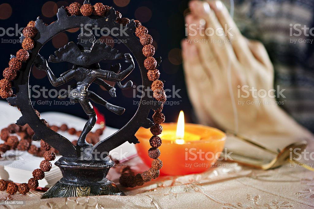 Praying Shiva Nataraja stock photo