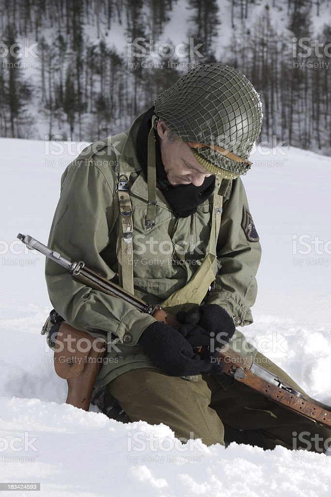 Praying Soldier. stock photo