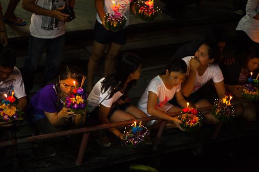 Praying Thai Women At River Ladprao Stock Photo - Download Image Now