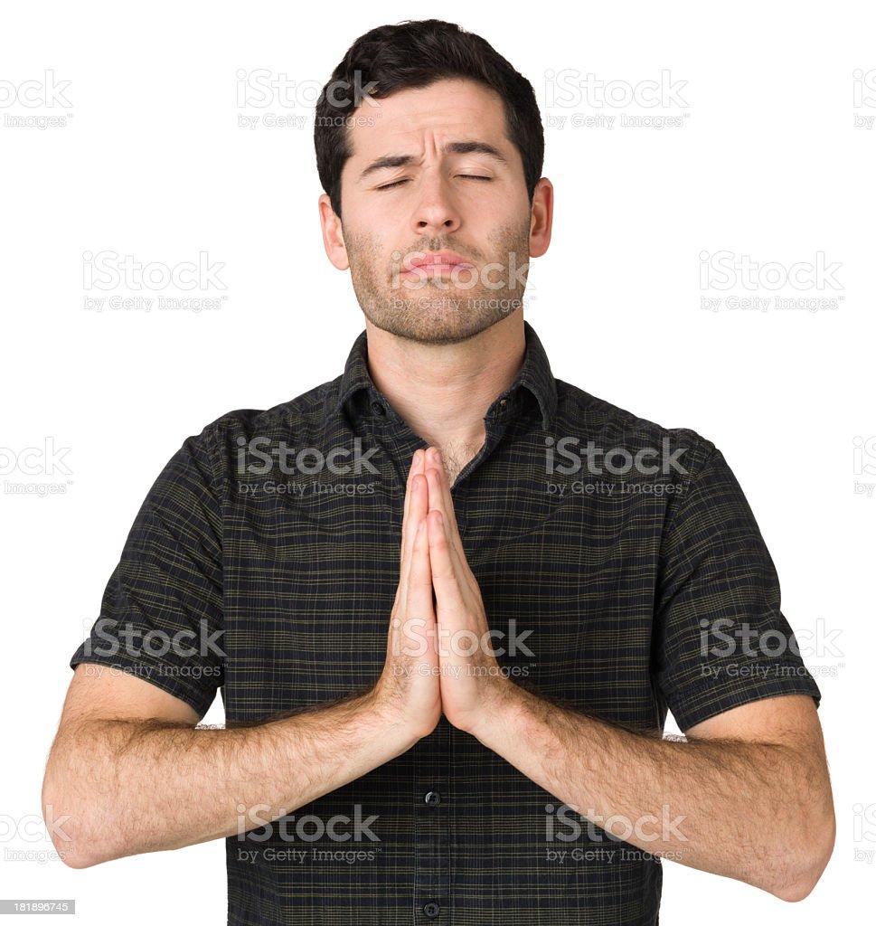 Praying Young Man royalty-free stock photo