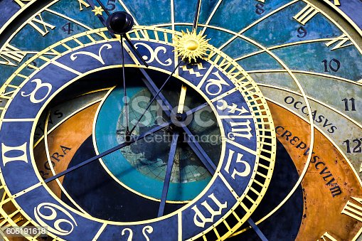 Detail of famous astronomical clock Prazski orloj (Prague, Czech Republic)