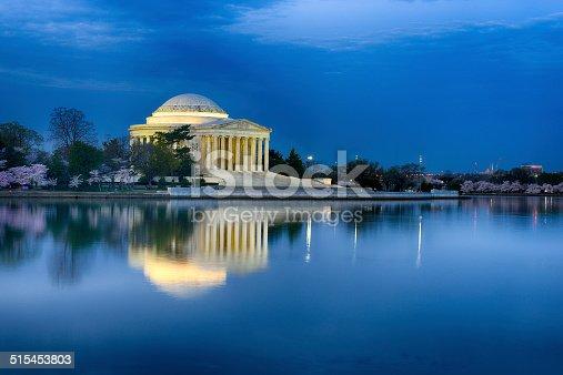 Pre Dawn Blue Hour Jefferson Memorial Reflection Cherry Blossoms Full Bloom Washington DC Tidal Basin