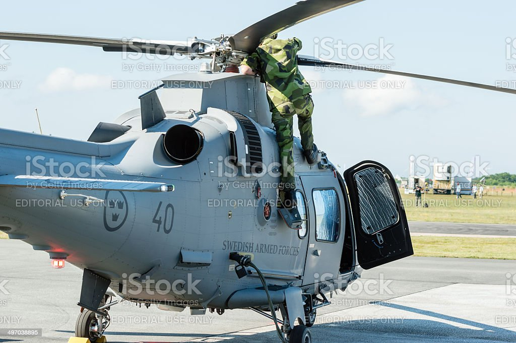 Pre flight control of helicopter stock photo